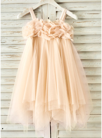 Knee-length Flower Girl Dress - Tulle Sleeveless Straps With Beading