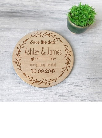 Personalized Round Wooden Save-the-date Magnets