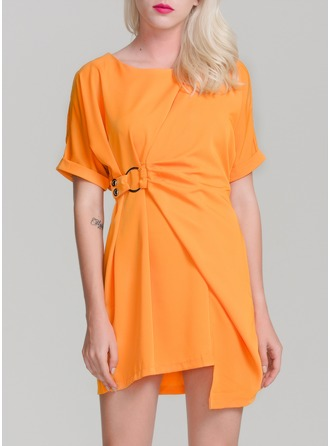 Polyester With Crumple Above Knee Dress