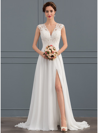 V-neck Sweep Train Chiffon Wedding Dress With Split Front