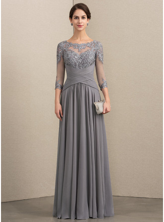 Scoop Neck Floor-Length Chiffon Lace Evening Dress With Ruffle