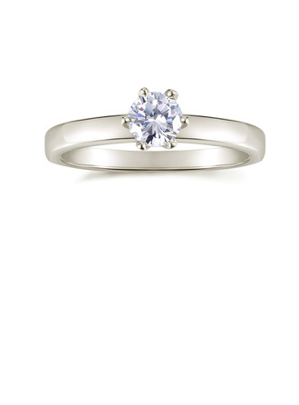 Sterling Silver Cubic Zirconia Dainty Solitaire Round Cut Engagement Rings Promise Rings -