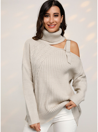 Cable-knit Chunky knit Solid Polyester Turtleneck Pullovers Sweaters