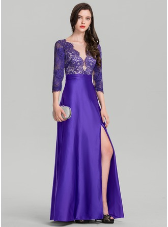 A-Line/Princess V-neck Floor-Length Satin Evening Dress With Ruffle Split Front