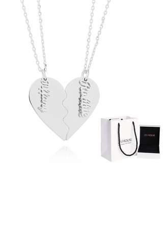 Custom Silver Overlapping Broken Heart Name Necklace Heart Necklace - Birthday Gifts Mother's Day Gifts (288221652)