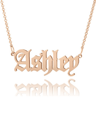 [Free Shipping]Custom 18k Rose Gold Plated Old English Name Necklace - Birthday Gifts Mother's Day Gifts