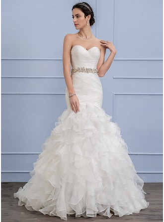 Trumpet/Mermaid Sweetheart Sweep Train Organza Wedding Dress With Beading Cascading Ruffles