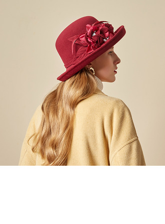 Ladies' Beautiful/Glamourous/Charming Wool Blend With Feather/Silk Flower Bowler/Cloche Hats