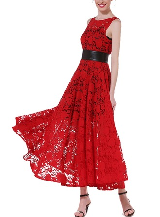 Lace With Lace/Stitching/Hollow/Crumple Maxi Dress