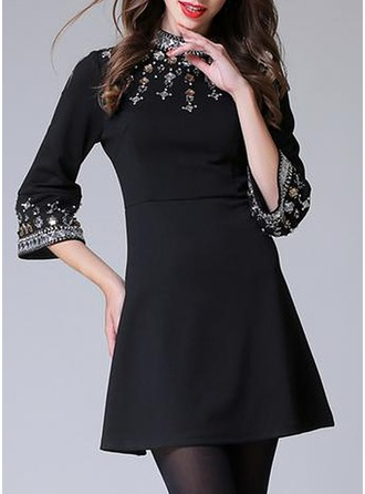 Polyester With Embroidery/Rhinestone Above Knee Dress