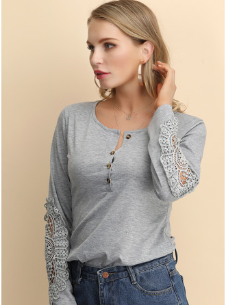 Long Sleeves Lace Cotton Round Neck Knit ()