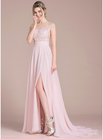Scoop Neck Sweep Train Chiffon Prom Dresses With Split Front