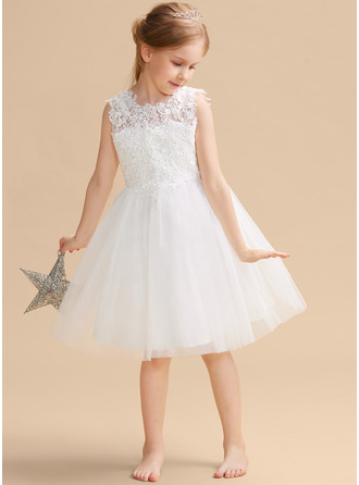 A-Line/Princess Knee-length Flower Girl Dress - Satin/Tulle/Lace Sleeveless Scoop Neck With Back Hole
