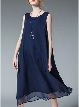 Chiffon/Cotton Blends With Stitching Knee Length Dress