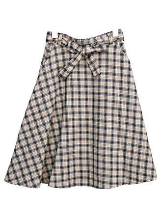 A-Line Skirts Mid-Calf Plaid Cotton Blends Skirts
