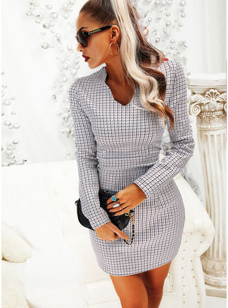 Plaid Bodycon V-Neck Long Sleeves Midi Casual Elegant Dresses
