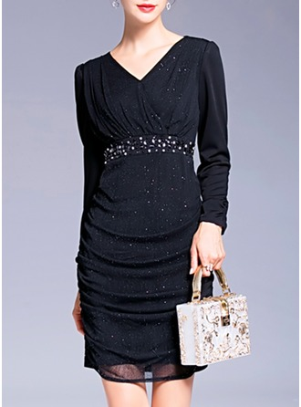 Polyester With Rhinestone Above Knee Dress