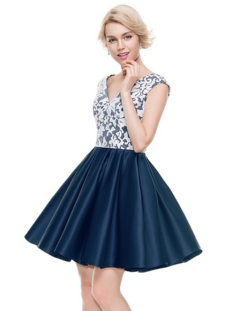 A-Line/Princess V-neck Short/Mini Satin Homecoming Dress