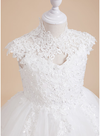 Knee-length Flower Girl Dress - Tulle Lace Sleeveless High Neck With Beading Sequins Back Hole
