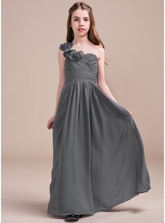 Floor-length Flower Girl Dress - Chiffon Sleeveless One-Shoulder