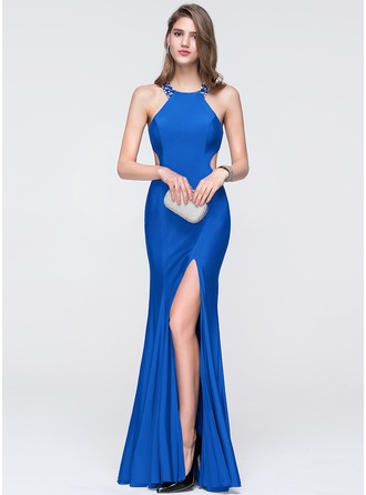 Trumpet/Mermaid Scoop Neck Floor-Length Jersey Prom Dress With Beading Sequins Split Front