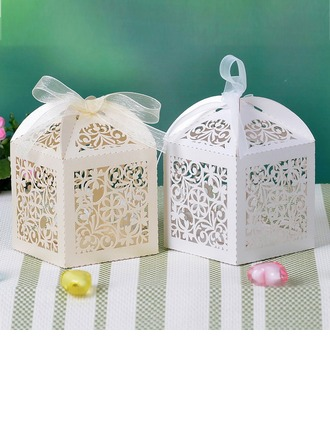 Floral Cut Out Cuboid Favor Boxes With Ribbons