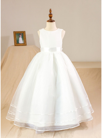 Floor-length Flower Girl Dress - Organza Satin Sleeveless Scoop Neck With Bow(s) (Petticoat NOT included)