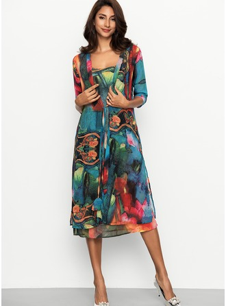 Chiffon With Stitching Midi Dress (Two Pieces )