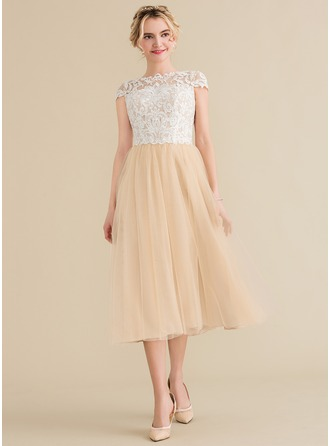 Scoop Neck Tea-Length Tulle Lace Bridesmaid Dress