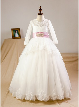 A-Line/Princess Floor-length Flower Girl Dress - Organza/Satin/Tulle Long Sleeves Scoop Neck With Bow(s) (Petticoat included)