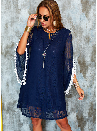 Lace Solid Shift Round Neck 3/4 Sleeves Midi Casual Tunic Dresses