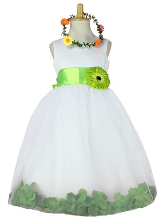 Ball Gown Knee-length Flower Girl Dress - Tulle Sleeveless Scoop Neck With Sash/Flower(s)/Rose Petals