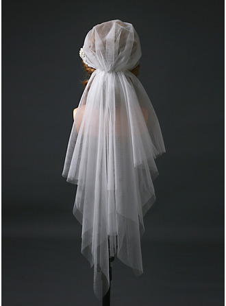 Two-tier Cut Edge Elbow Bridal Veils With Satin Flower/Faux Pearl