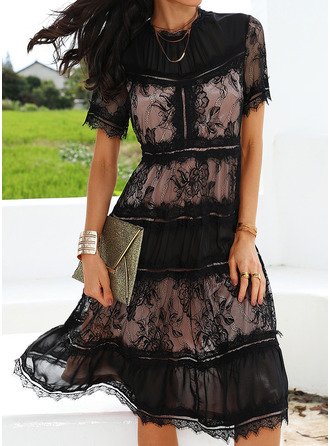 Lace Solid A-line Round Neck Short Sleeves Midi Little Black Party Skater Dresses