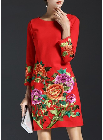 Cotton With Embroidery Above Knee Dress