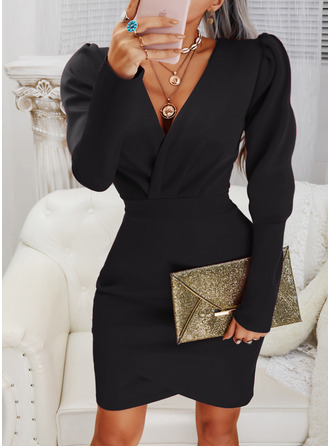 Solid Bodycon V-Neck Long Sleeves Puff Sleeves Midi Elegant Little Black Party Dresses