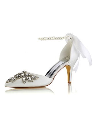 Women's Silk Like Satin Stiletto Heel Pumps With Crystal Pearl
