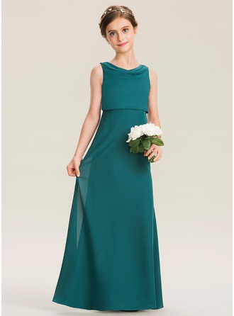 Cowl Neck Floor-Length Chiffon Junior Bridesmaid Dress With Ruffle