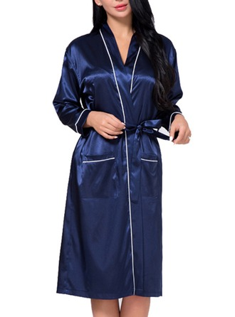 Bride Bridesmaid Silk With Knee-Length Girl Robes