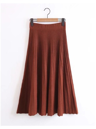 Pleated Skirts Maxi Plain Cotton Skirts