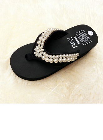 Women's Cloth Wedge Heel Sandals Flip-Flops shoes