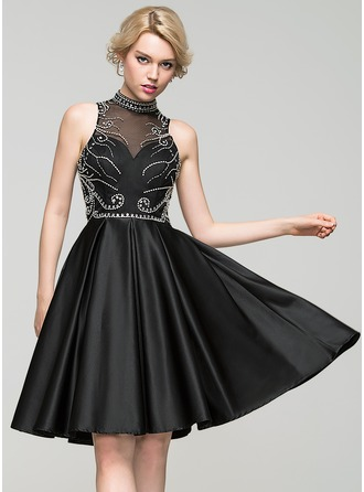 A-Line/Princess High Neck Knee-Length Satin Homecoming Dress With Beading Sequins