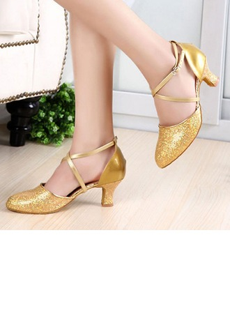 Women's Sparkling Glitter Patent Leather Heels Pumps Latin Party With Ankle Strap Dance Shoes