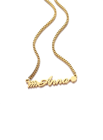Custom 18k Gold Plated Name Arrow Name Necklace Pendant Necklace With Arrow -