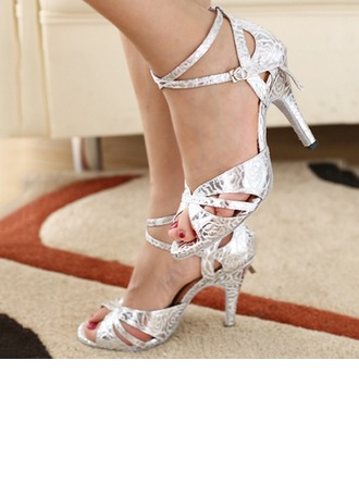 Women's Leatherette Heels Pumps Latin Jazz Practice Party Tango With Ankle Strap Dance Shoes