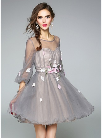 Tulle/Organza With Applique Above Knee Dress