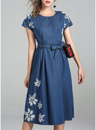 Polyester/Cotton With Bowknot Midi Dress