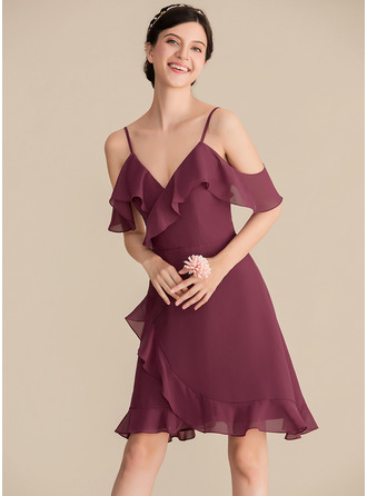 V-neck Knee-Length Chiffon Bridesmaid Dress With Cascading Ruffles
