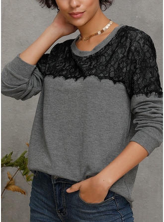 Long Sleeves Lace Cotton Blends Round Neck Blouses