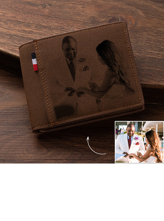 Groom Gifts - Personalized Custom Engraved Photo Engraved Black And White Leather Wallet Men's Wallet